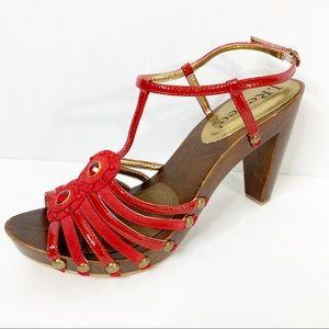 J. Renee Red Jeweled Island Heels Size 8.5W